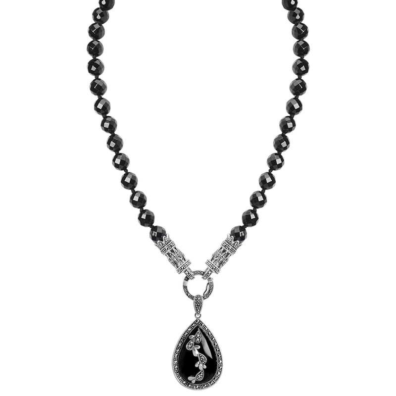 Dramatic Faceted Black Onyx with a Garland of Marcasite Flowers Sterling Silver Necklace