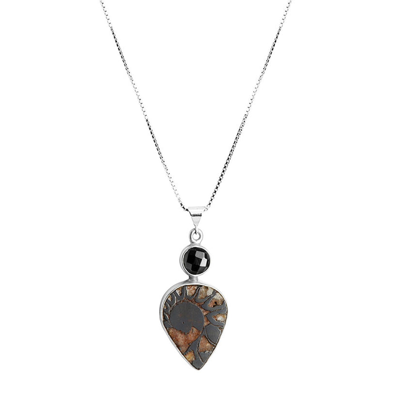 Natural Ammonite Fossil and Glimmering Hematite Sterling Silver Necklace