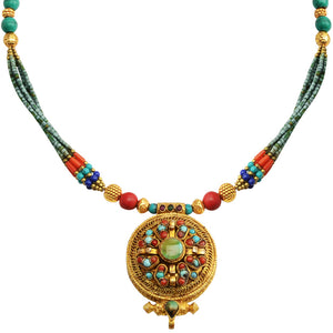 Nepal With Himalayan Coral and Turquoise Gold Plated Pill Box Necklace
