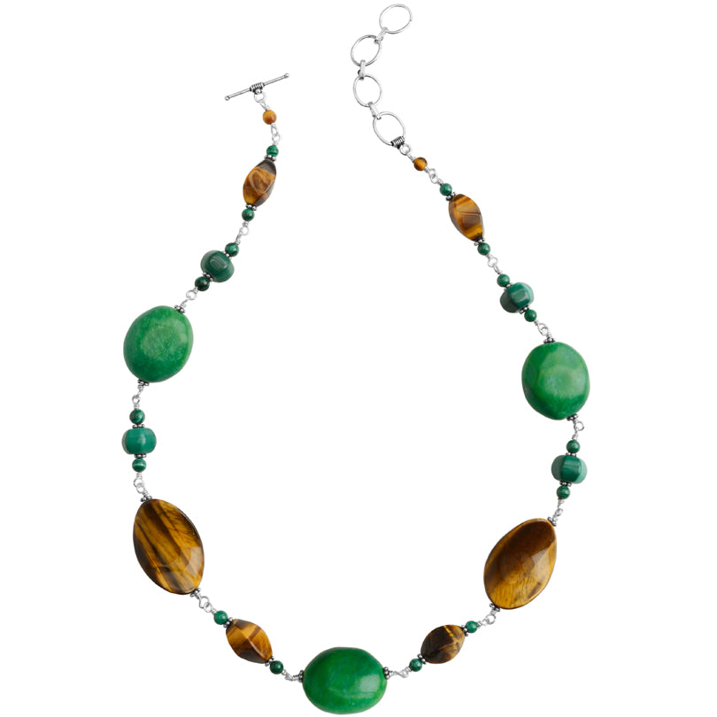 Wonderful Earthy Green Turquoise, Tiger's Eye and Malachite Sterling Silver Statement Necklace