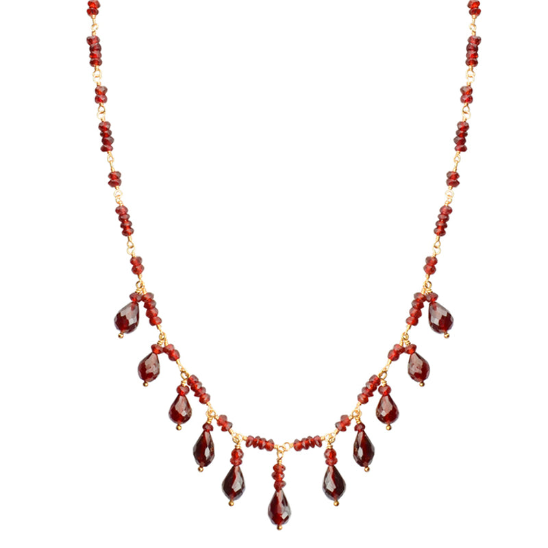 Beautiful Faceted Garnet Princess Gold Filled Necklace