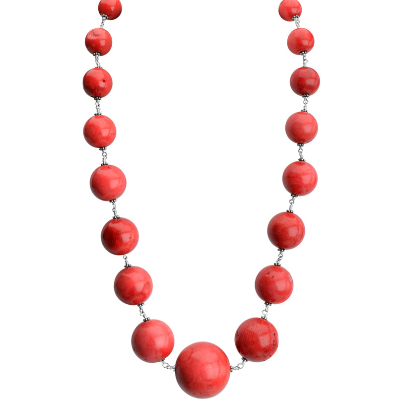 Be Daring! Large, Graduated Coral Balls Sterling Silver Necklace 22""