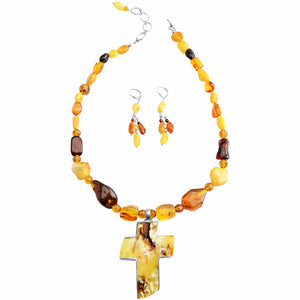 Polish Designer Butterscotch Baltic Amber Cross Necklace Sterling Silver Set
