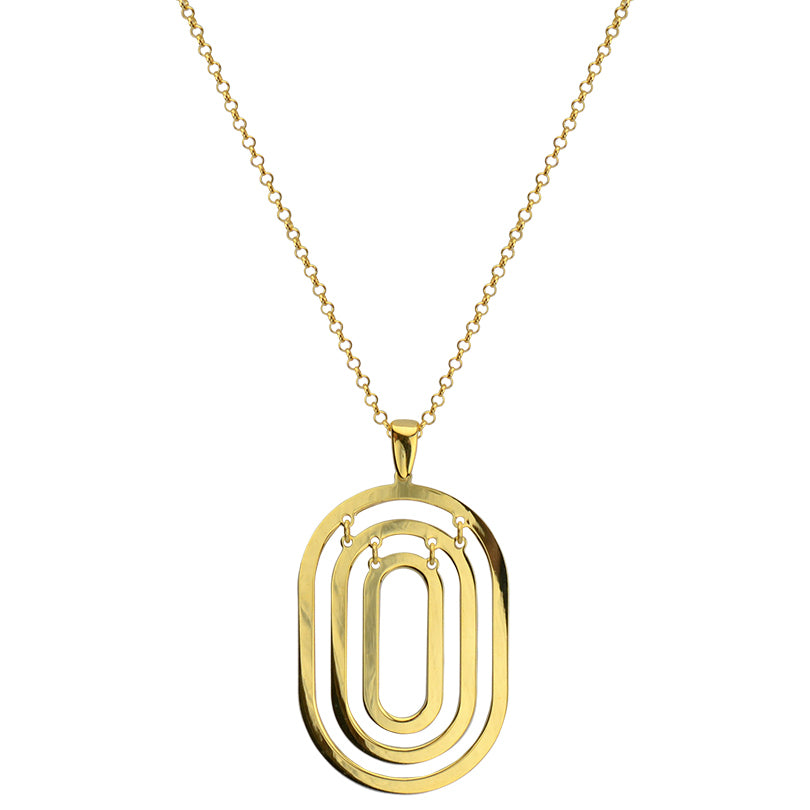 18kt Gold Plated Sterling Silver Ovals Necklace