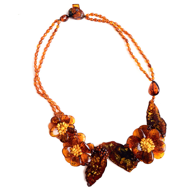 Gorgeous Baltic Amber Cognac Stones Flower Statement Necklace
