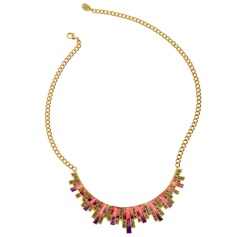 Gorgeous Colorful Gold Plated Marcasite Dancing Statement Necklace