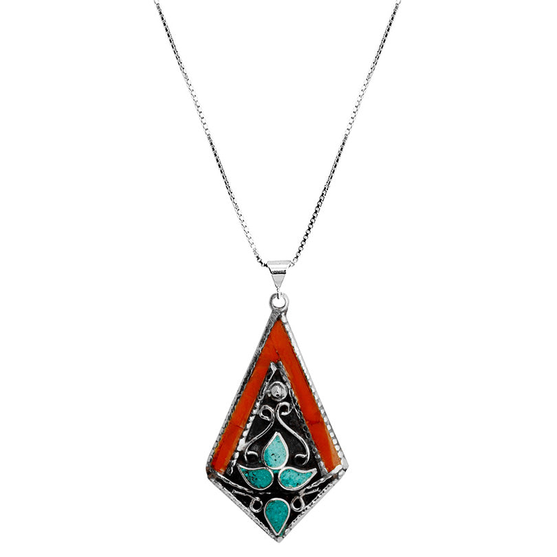 Himalayan Coral and Turquoise Silver Plated Nepal Necklace