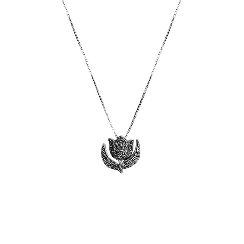 Darling Dutch Marcasite Tulip Sterling Silver Necklace