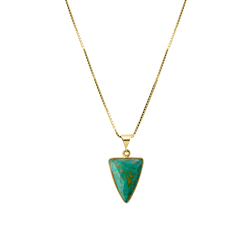 "Light Turquoise Gold Plated Necklace 16"" - 18"""