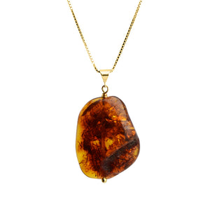 Cognac Baltic Amber Vermeil Necklace