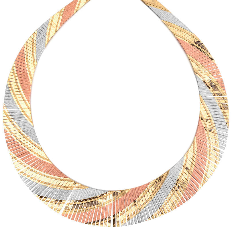 18kt Tri-Color Plated Sterling Silver Cleopatra Necklace