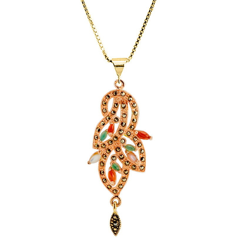 Art Deco Inspired Colorful agate stones and  Rose Gold Plated Marcasite Necklace