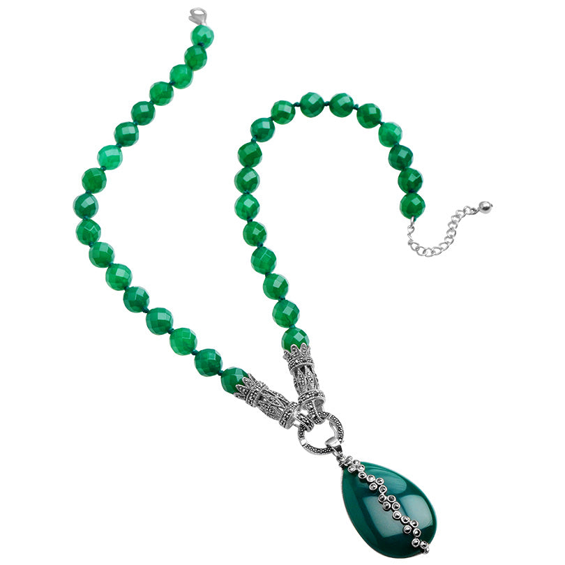 Hello Beautiful Necklace! Art Deco Style of Green Agate with Marcasite Sterling Silver Statement Necklace