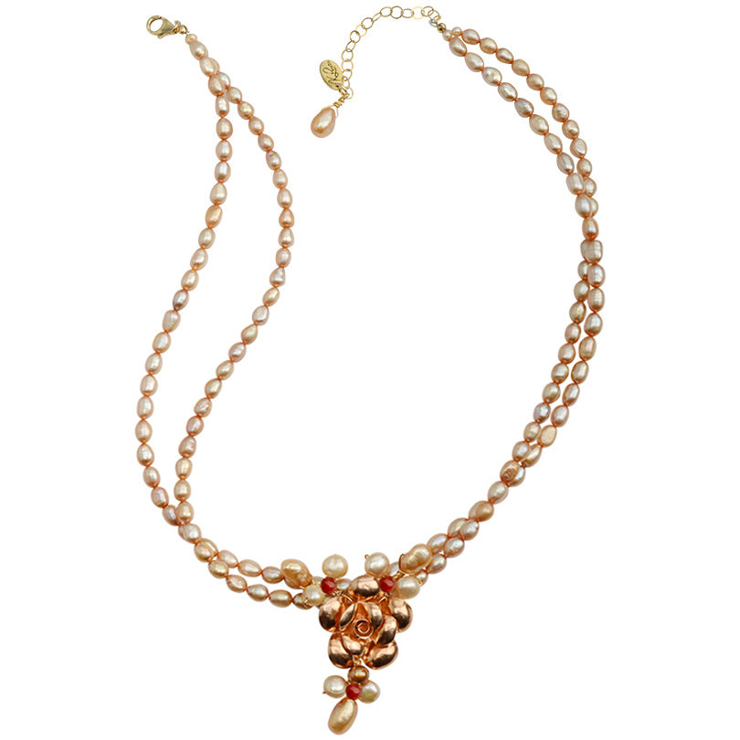 "Beautiful French ""Dusty Rose"" Fresh Water Pearl with Rose Gold Plated Silver Flower Statement Necklace 16"" - 18"""
