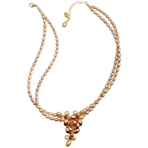 "Beautiful ""Dusty Rose"" Fresh Water Pearl with Rose Gold Plated Silver Flower Necklace"