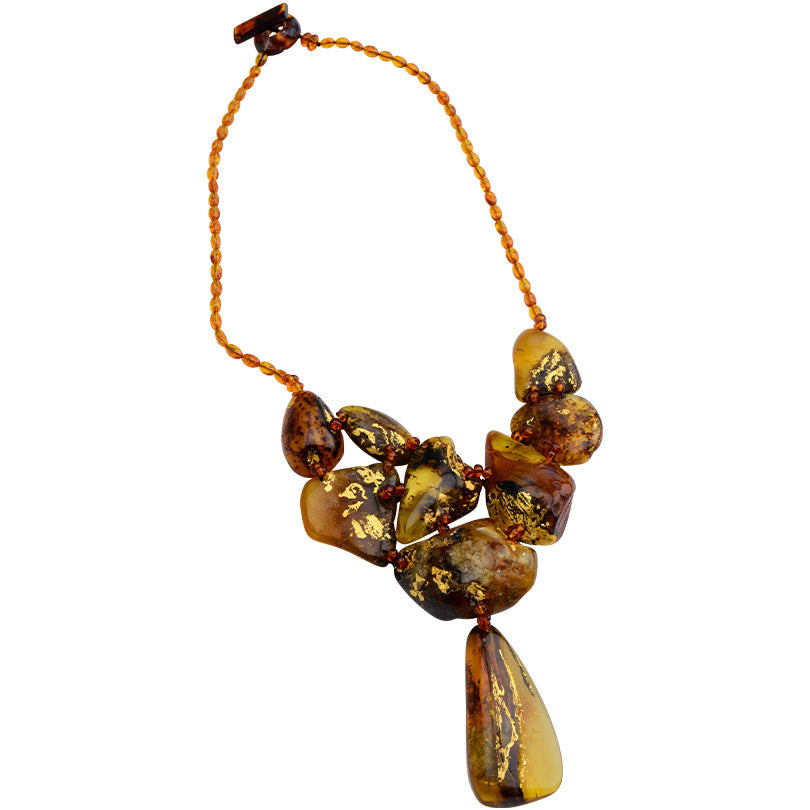 "Gorgeous Polish Designer Muti-Stone Baltic Amber with 24kt Gold Accent Statement Necklace 21""-one of a kind"