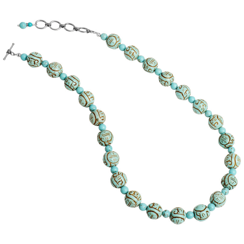 "Tropical Blue Carved Chalk Turquoise Beaded Necklace 18""-20"""