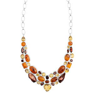 This is a Beauty! Citrine, Baltic Amber, Garnet & Red Pearl Statement Necklace