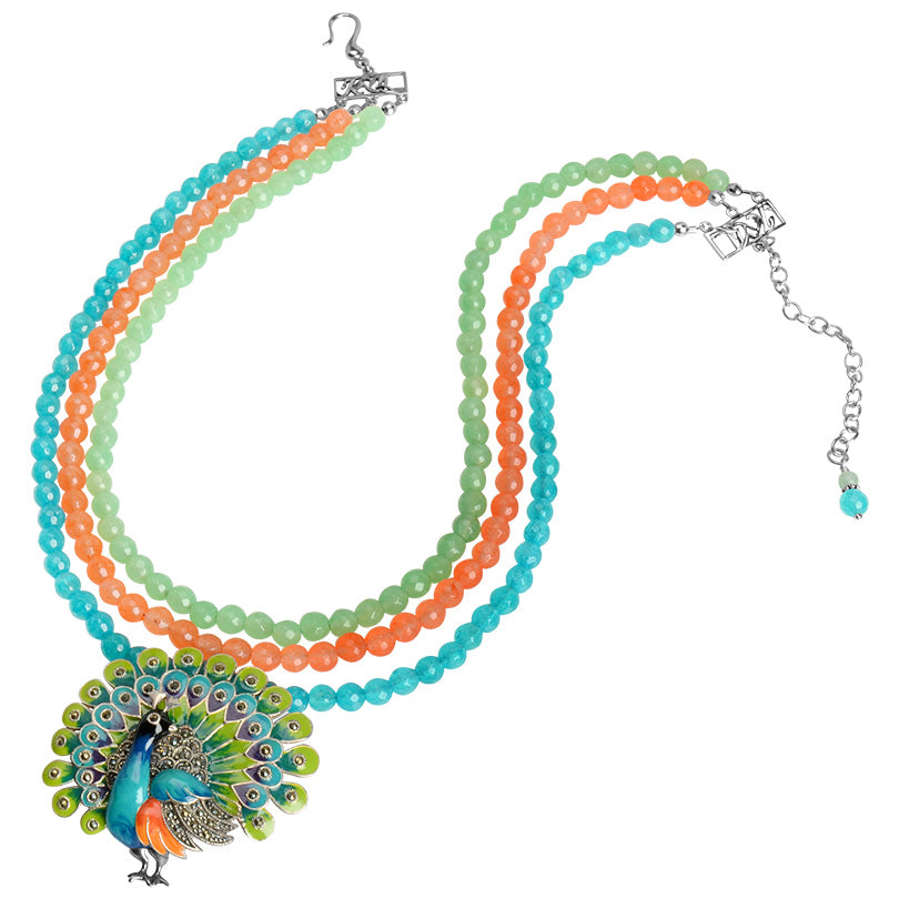 Gorgeous Colorful Multi Strand Silver Peacock Brooch Necklace