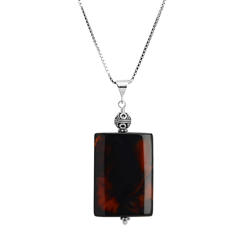 Unique Dark Carnelian Sterling Silver Necklace 16