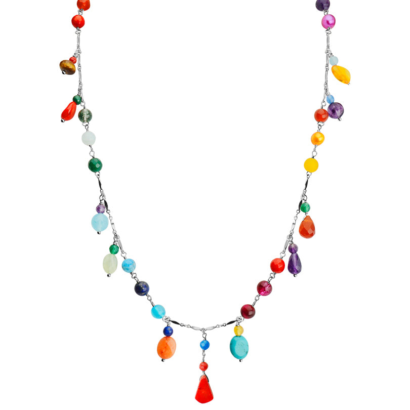 "Happiness of Brightly Colored Mixed Stones Sterling Silver Necklace 19"" - 21"""