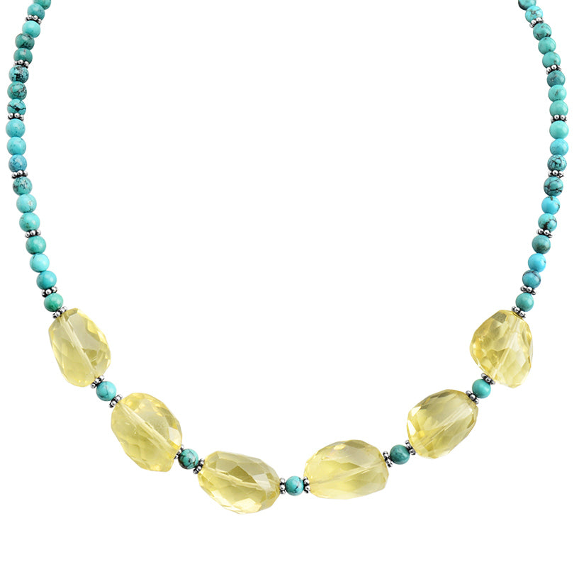 "So Pretty Lemon Quartz and Turquoise Sterling Silver Necklace 16"" - 18"""