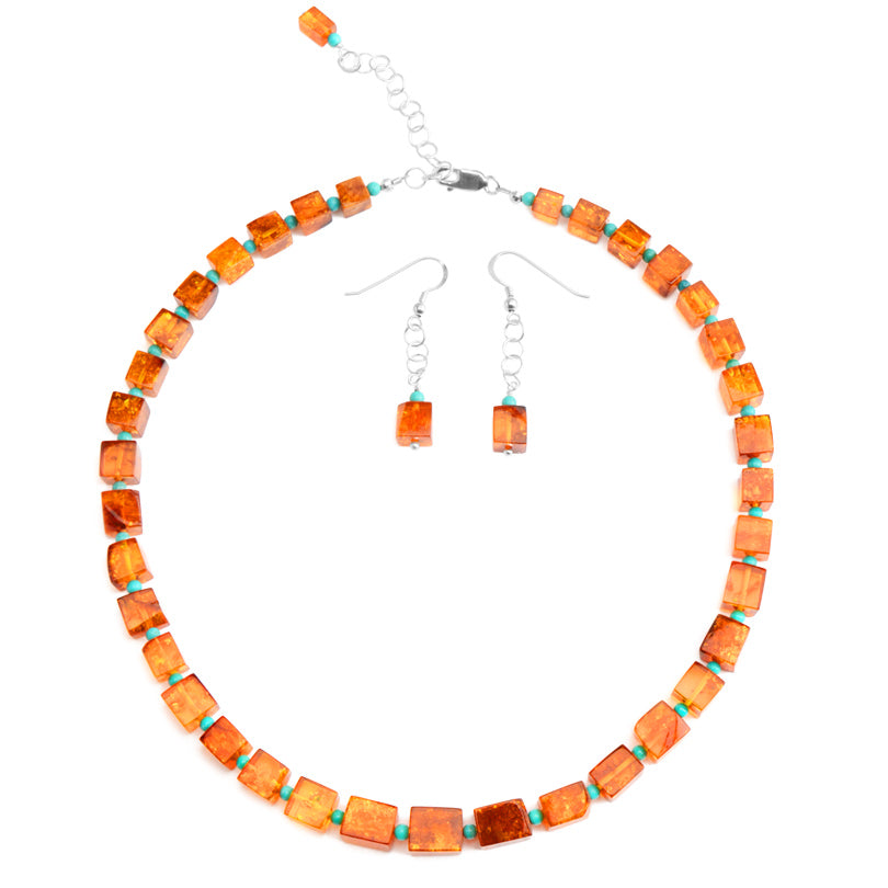 Really Beautiful Amber and Sleeping Beauty Turquoise Necklace & Earring Set