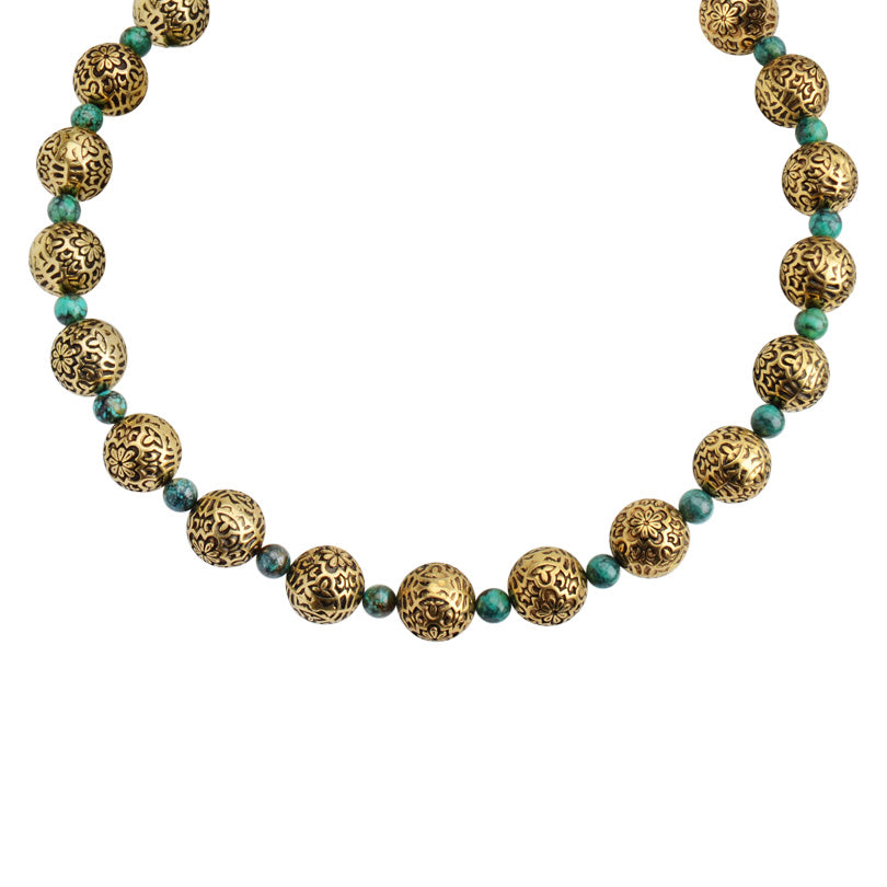 Vintage Design Brass Tone Spheres with Turquoise Accents Necklace 18""