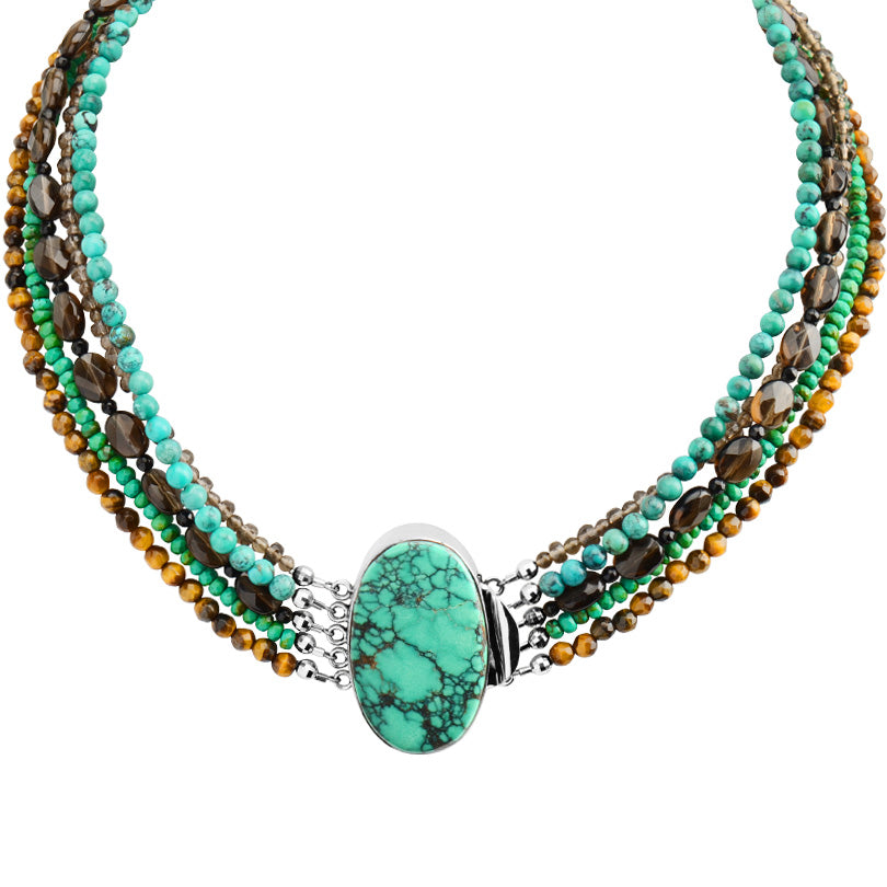 Stunning Turquoise, Smoky Quartz and Tiger's Eye Sterling Silver Statement Necklace