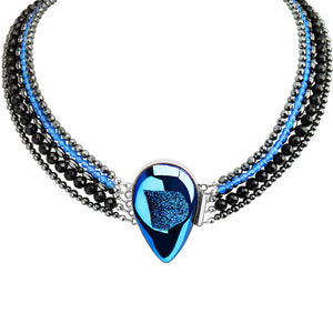 Dramatic Midnight Blue Titanium Drusy Multi Strand Sterling Silver Statement Necklace 18""