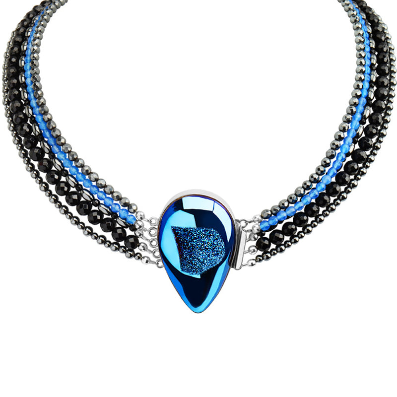 Dramatic Midnight Blue Titanium Drusy Multi Strand Sterling Silver Statement Necklace 18