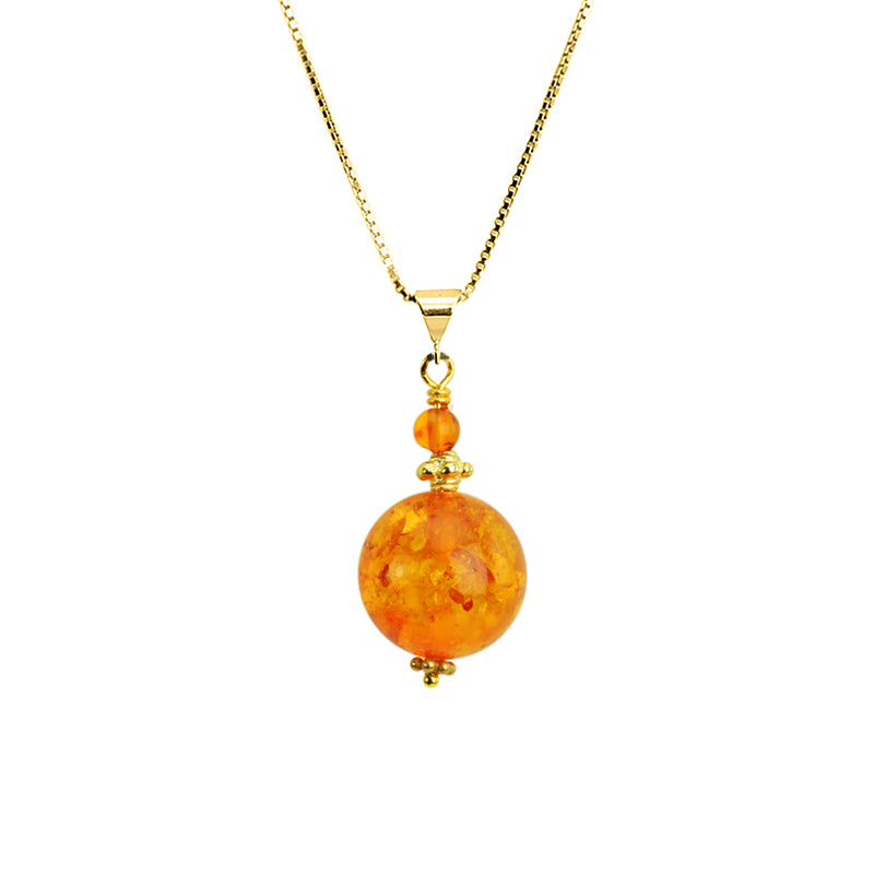 Gorgeous Honey Cognac Baltic Amber Globe on Italian 18kt Vermeil Necklace