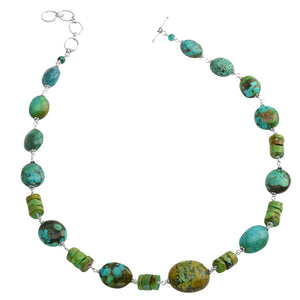 So Pretty Genuine Turquoise Sterling Silver Necklace 21""