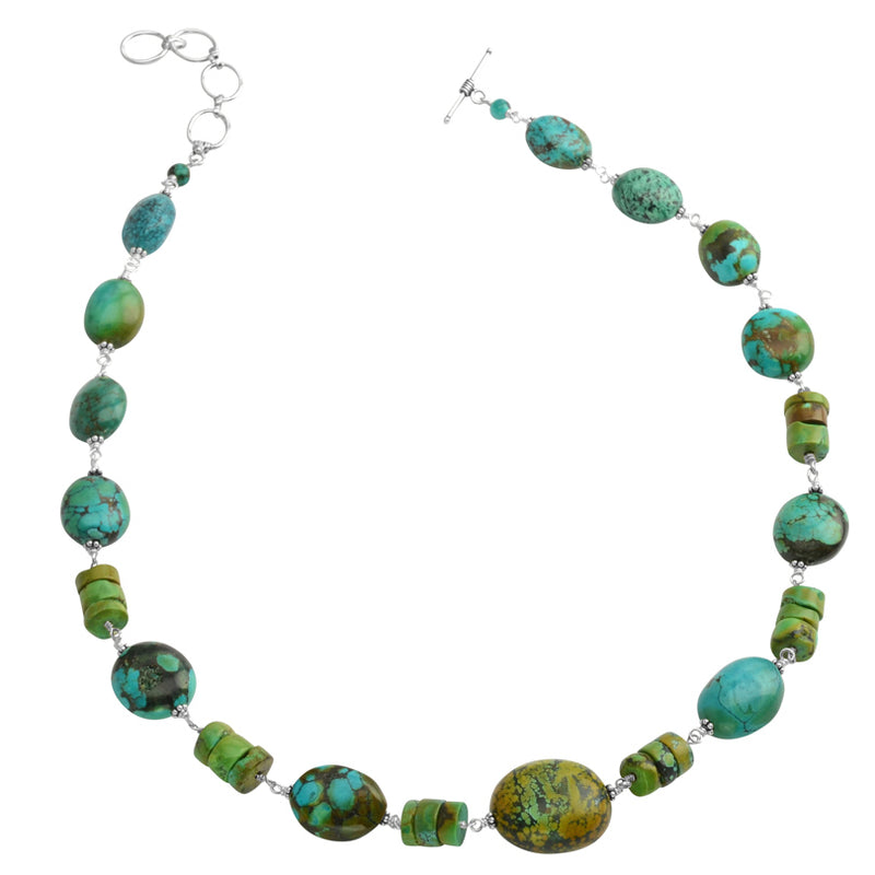 So Pretty Genuine Turquoise Sterling Silver Necklace 21