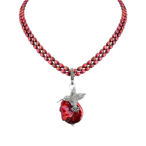 "Darling Marcasite Hummingbird on Ruby Fresh Water Pearls Neckline 17"" - 19"""