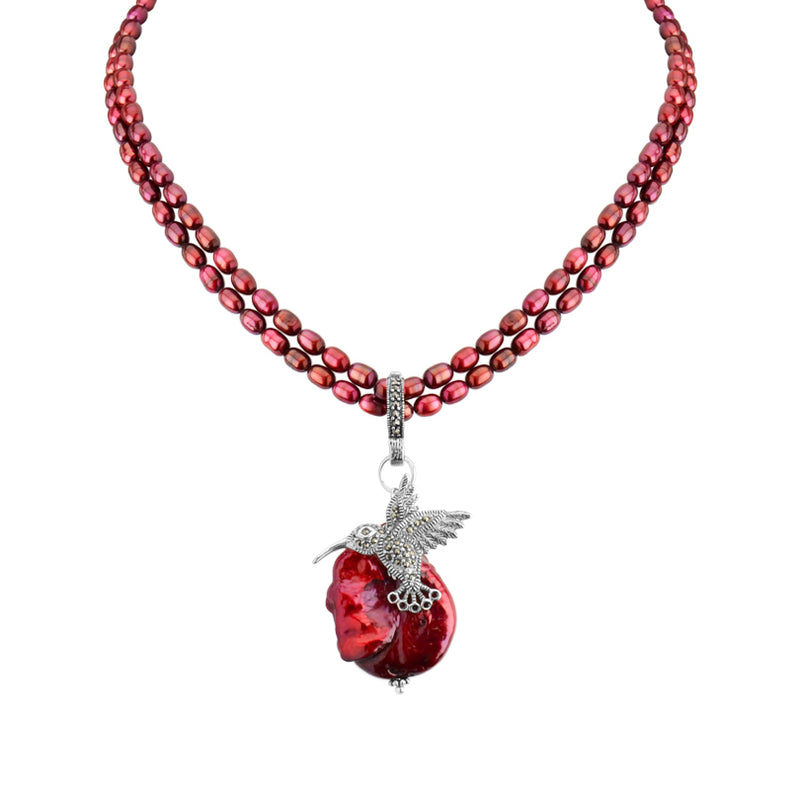 Darling Marcasite Hummingbird on Ruby Fresh Water Pearls Neckline 17