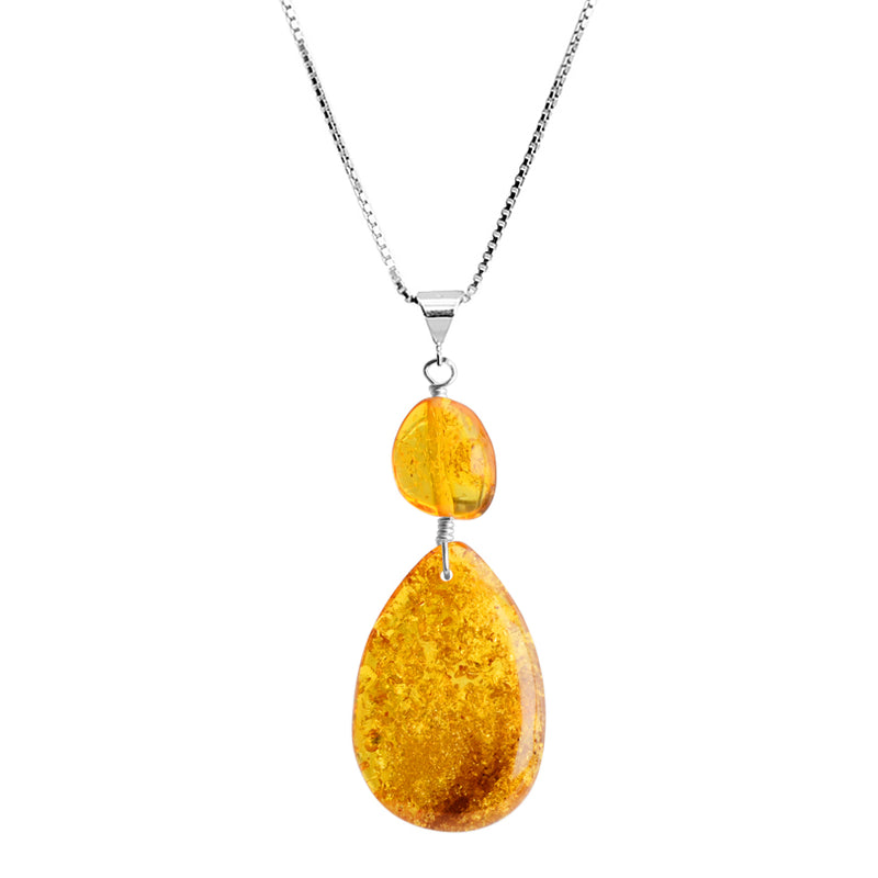 Honey Cognac Baltic Amber Sterling Silver Necklace