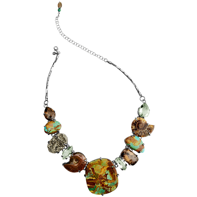 Necklace of Boulder Turquoise, Ammonite, Pyrite and Green Amethyst on Sterling Silver Statement Necklace