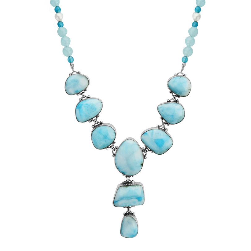 Lovely Blue Larimar on Jade and Fresh Water Pearl Neckline Sterling Silver Statement Necklace-one of a kind