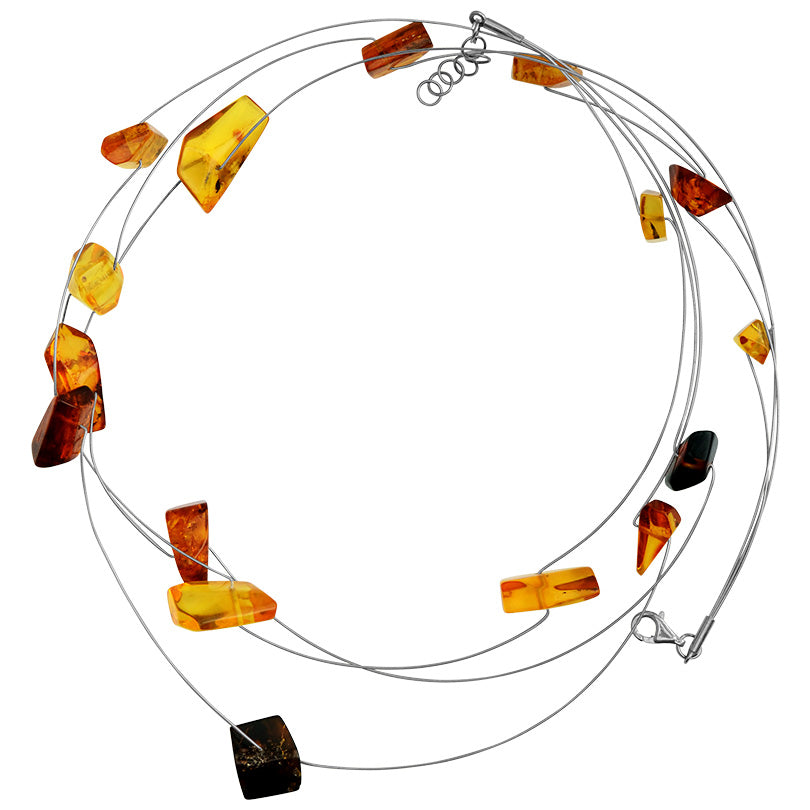 "Contemporary Mixed Colors of Baltic Amber Sterling Silver Necklace 19"" - 20"""