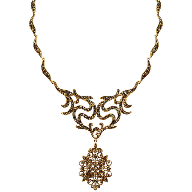 Stunning Victorian Style Star-Crest 14kt Gold Plated Marcasite Statement Necklace