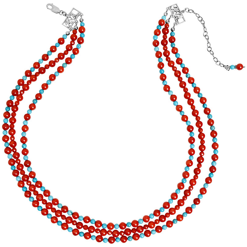 "Gorgeous Coral and Magnesite Turquoise Sterling Silver Statement Necklace 20"" - 23"""
