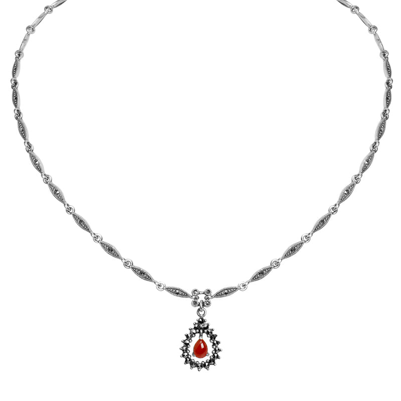 Fairy Dewdrop Carnelian And Marcasite Sterling Silver Necklace