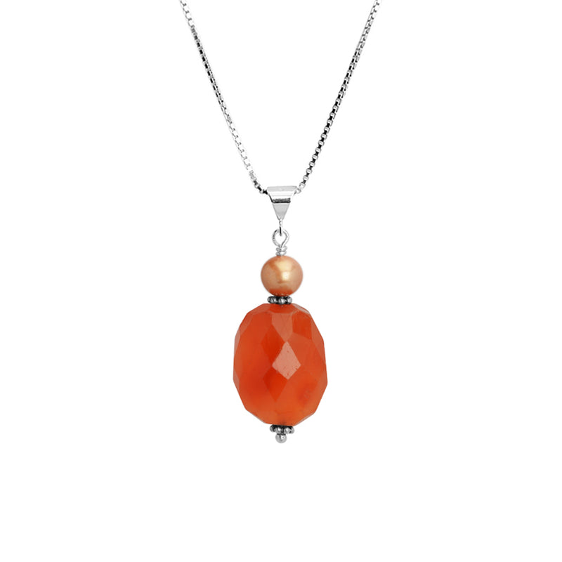 Vibrant Carnelian and Champagne Pearl Sterling Silver Necklace