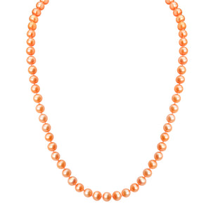 "Light Golden Coral Color Fresh Water Pearl Gold Filled Necklace 18"" - 20"""