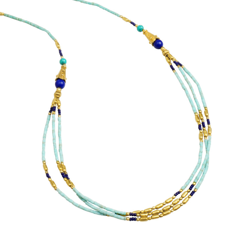 Himalayan Turquoise and Lapis 24kt Antiqued Gold Plated Accents Nepal Necklace