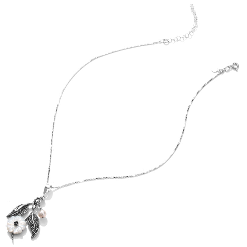 Blowing in the Wind Pearl Flower Sterling Silver Necklace