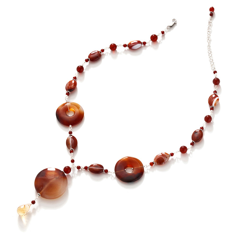 Dramatic Red Agate and Carnelian Sterling Silver Statement  Necklace
