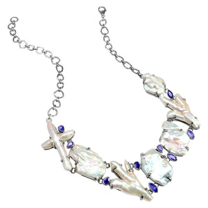 Magnificent Fresh Water Pearl and Iolite Sterling Silver Statement Necklace