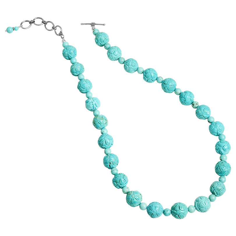 "Scrumptious Sky Blue Carved Chalk Turquoise Beaded Necklace 19""-20 1/2"""